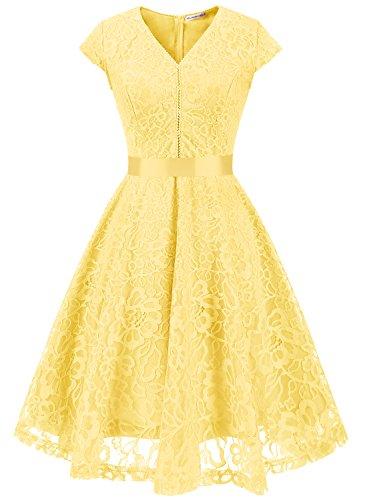 MUADRESS 6004 Women V-Neck Bridesmaid Dress Cap-Sleeve Floral Lace Slim Dress Yellow L