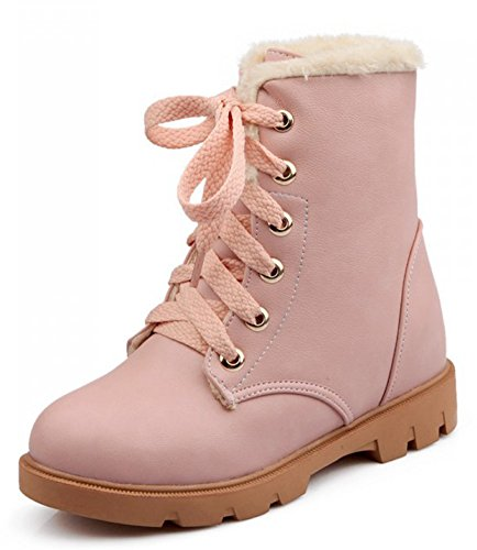 IDIFU Low High Booties Martin Lace Womens Ankle Heels Up Pink Fleece Winter Boots Warm Lined Snow r7rwOX4q
