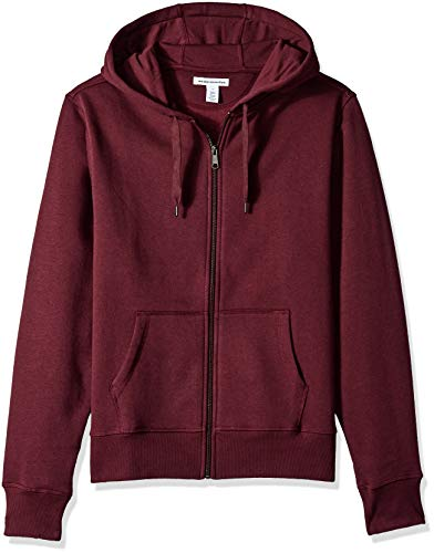 Amazon Essentials Men's Full-Zip Hooded Fleece Sweatshirt, Burgundy, -