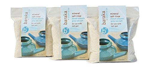Baraka Neti Pot Mineral Salt Rinse - Unrefined, GMP Certified (8oz, 3pk) ()