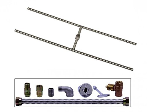 Spotix HPC Match Lit Fire Pit Burner Kit, Rectangle H-Burner, 30x8-Inch Burner, Natural Gas, Polished Chrome by Spotix