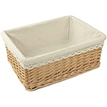 RURALITY Rectangular Willow Wicker Storage Shelf Basket with Liner, Large