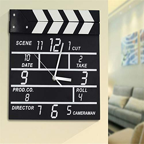 (Creative Electronic Wall Clock Movie Clappers Wooden Clock Calendar Wall Watch Home Decoration Accessories Modern)
