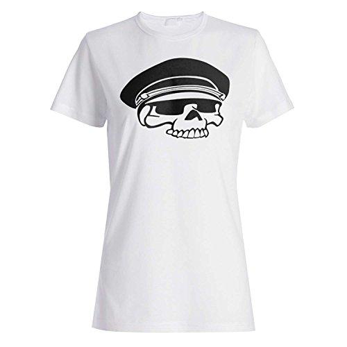 HAPPY HALLOWEEN ESQUELETO POLICÍA CABEZA NOVEDAD DIVERTIDA NUEVO camiseta de las mujeres k31f