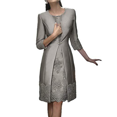 di giacca con Due sposa sera Corto pizzo Donne ballo Grey da Pizzo Vestito abito pezzi Madre da Abiti HHxfqr6