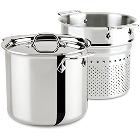 All Clad 4807 Stainless Steel Tri Ply Bonded Dishwasher Safe Pasta Pentola With Insert Cookware 7 Quart Silver