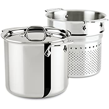 Amazon Com All Clad E414s6 Stainless Steel Pasta Pot And