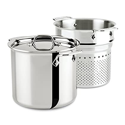 Image of All-Clad 4807 Stainless Steel Tri-Ply Bonded Dishwasher Safe Pasta Pentola with Insert / Cookware, 7-Quart, Silver Home and Kitchen