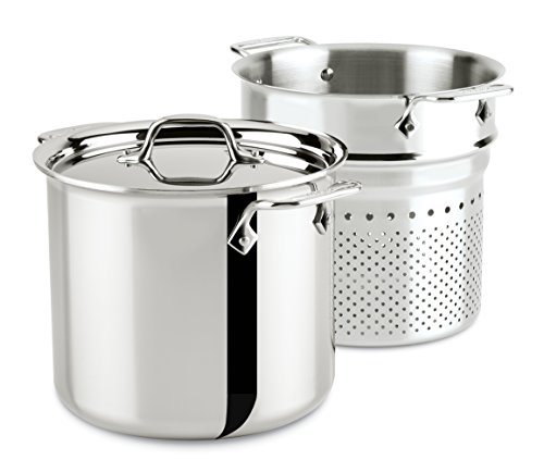 All-Clad 4807 Stainless Steel Tri-Ply Bonded Dishwasher Safe Pasta Pentola with Insert / Cookware, 7-Quart, Silver ()