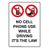 ComplianceSigns Vertical Aluminum No Cell Phone Use While Driving It's The Law Sign, 14 x 10 in. with English Text and Symbol, White