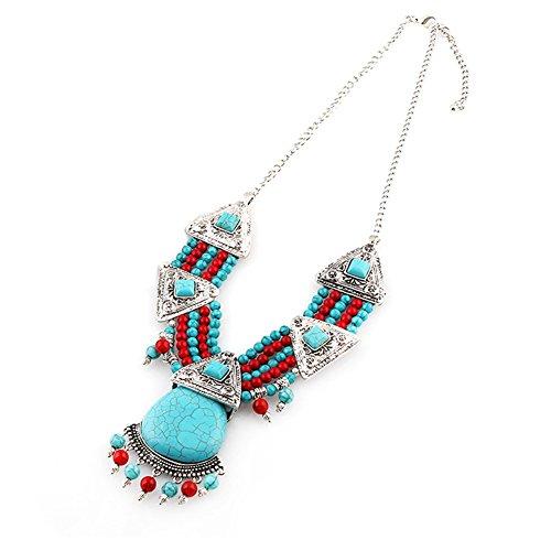 diamondo-big-turquoise-pendant-multiple-beads-chain-statement-necklace-silver