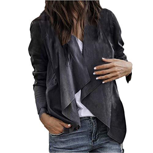 Coat for Women, Clearance Sale! Pervobs Women Casual Long Sleeve Work Coat Open Front Short Cardigan Suit Jacket(XL, Dark Grey) -