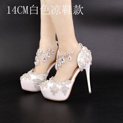5 A Shoes Sandal Sandals Fringed Wedding Shoes Strap 5 Diamond 14Cm White Hollow High Bride Strap Summer Crystal Heeled VIVIOO Red Shoes Buckle Heel Prom Crystal wSHETwqg