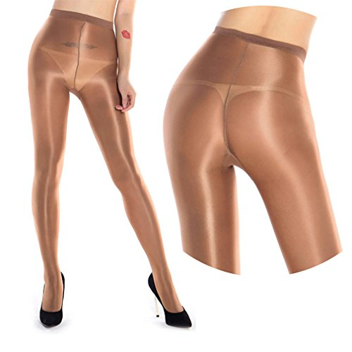 2 Pairs Shaping Socks Oil Socks Shiny Silk Stockings Pantyhose Dance Tights (Champagne 2) by RICHTOER (Image #7)