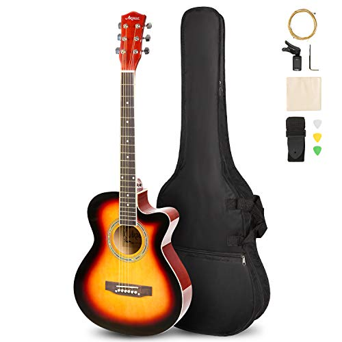 ARTALL 39 Inch Handmade Solid Wood Acoustic Cutaway Guitar Beginner Kit with Tuner, Strings, Picks, Strap, Glossy Sunset