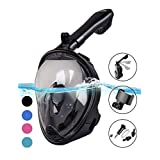 Full Face Snorkel Mask 2.0, Foldable Full Face Snorkeling Diving Scuba Mask with Detachable Camera Mount Pivot Arm and Earplug, 180°Panoramic Easy Breath Anti-Fog Anti-Leak for Adults Youth