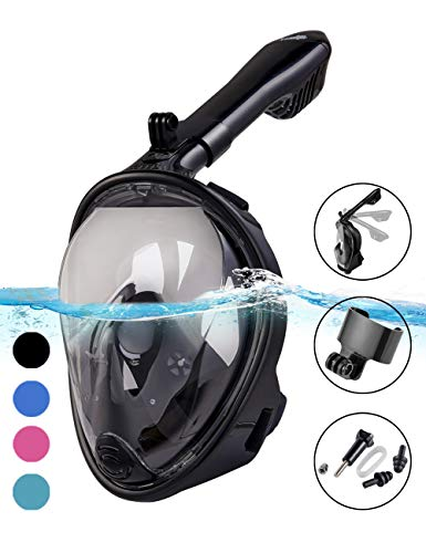 X-Lounger Snorkel Mask, 2019 New Foldable Snorkeling Mask Full Face with Detachable Camera Mount Pivot Arm and Earplug, 180° Large View Easy Breath Dry Top Set Anti-Fog Anti-Leak for Adults ()