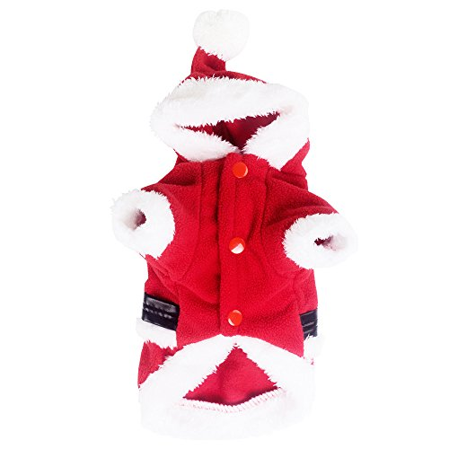 [ANSON Christmas Pet Puppy Dog Clothes Santa Claus Costume Outwear Thick Coat Apparel (L)] (Weenie Costumes)