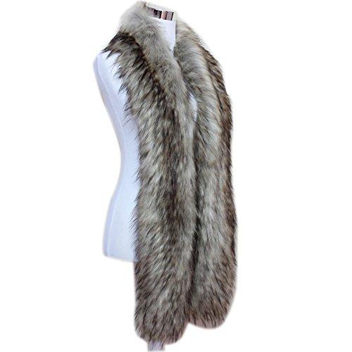 (Men Women Winter Warm Faux Fox Raccoon Fur Collar Stole Long Scarf Shawl (Grey))