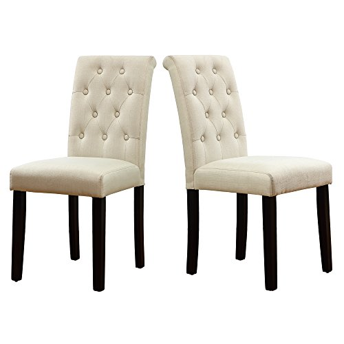LSSBOUGHT Button-Tufted Upholstered Fabric Dining Chairs with Solid Wood Legs, Set of 2 (Cream) (Dining Chairs Colored)
