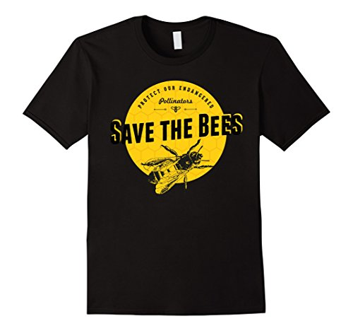 Mens Save the Bees T-Shirt - Save Our Endangered Pollinators Tee Large - Save Apparel The Bees