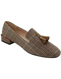 Women's Tassel Suede Loafers Square Toe Plaid Moccasins Ladies Autumn Shoes