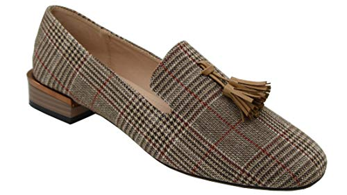 Modenpeak Women's Tassel Suede Loafers Square Toe Plaid Moccasins Ladies Dress Shoes Brown ()