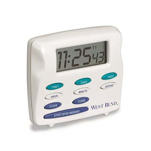 - West Bend 40053-DS Triple Timer with Clock, White