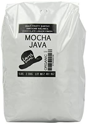 Larry's Coffee Organic Fair Trade Whole Bean, Mocha Java Blend, 5-Pound Bag