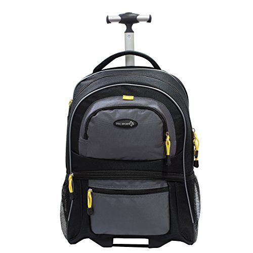 """Price comparison product image TPRC 19"""" Black with Yellow Trims """"Sierra Madre"""" Rolling Backpack Includes Spacious Front and Side Mesh Pockets and Padded Laptop Compartment"""