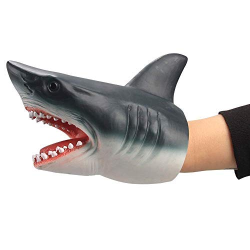 (Geminismart Shark Hand Puppet Dolphin Hand Puppet for Kids Soft Rubber Realistic White Shark Role Play Toy (Shark))