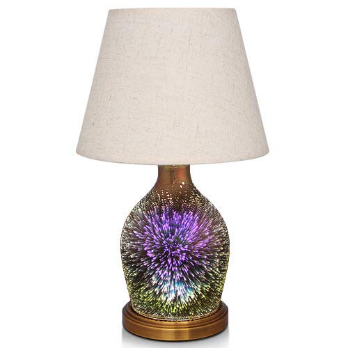 Table Lamp,Desk Lamp with Bulb Included - Modern Lamp with Unique Lampshade,Handmade 3D Effect Glass Base - Perfect for Table in Bedroom,Bedside,Living Room,Office (Table Lamp Vase)