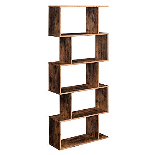 VASAGLE Wooden Bookcase, Display Shelf and Room Divider, Freestanding Decorative Storage Shelving, 5-Tier Bookshelf, Rustic Brown ULBC62BX ()