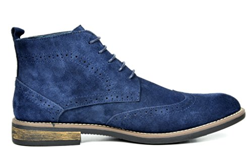 Bruno Marc Men's URBAN-02 Navy Suede Leather Lace Up Oxfords Desert Boots Size 7.5 M US