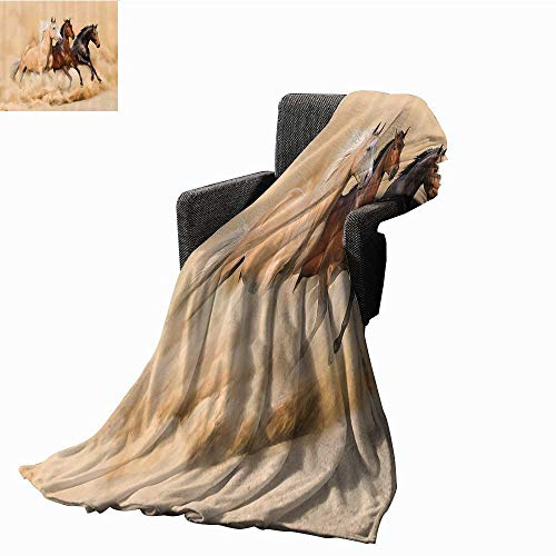Animal Decor Collection Faux Fur Throw Blanket Three Horse Running in Desert Storm Mythical Mystical Messenger Animals in Habitat Print Ultra Soft and Warm Hypoallergenic 40