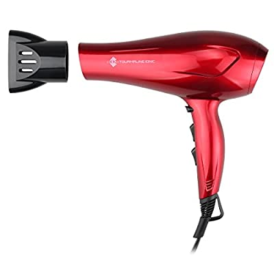 JINRI Powerful Tourmaline Ionic Hair Dryer,1875W Negative Ionic Blow Dryer with Concentrator,ETL Certified ALCI safety plug,hang loop,Portable Dryer