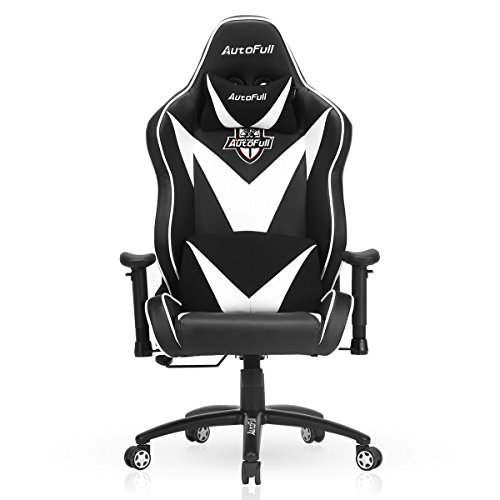 41sopxuGn9L - AutoFull-Gaming-Chair-Large-Size-Racing-Chair-Office-Chair-Executive-Swivel-Leather-Chair-High-back-Ergonomic-Computer-Chair-PU-Leather-Mesh-Bucket-Chair-Cushion-Headrest-Lumbar-Support-White