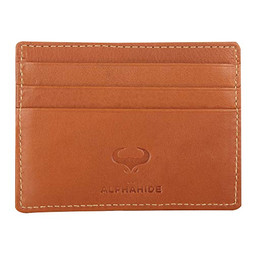 Real Leather Credit Card Holder - Ultra Thin Design - Front Pocket Wallet - RFID (Tan) ()