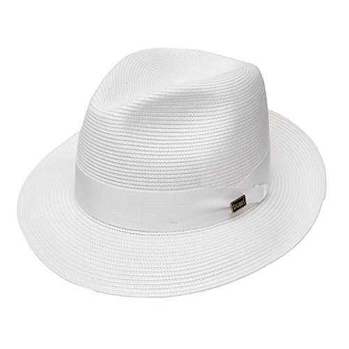 Hat Crease Center Fedora - Dobbs Rosebud Straw Hat - White - 7 3/8