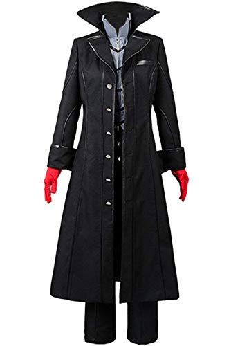 Ya-cos Persona 5 Protagonist Joker Cosplay Costume Coat Suit Jacket Outfit Top Attire Dress Up Black]()