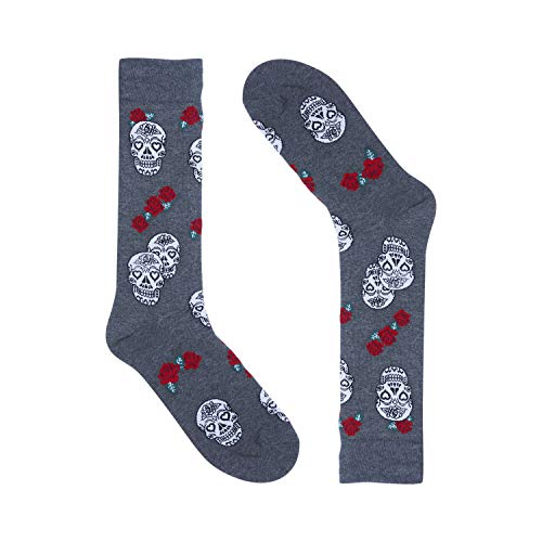 (Skulls and Roses Grey - Novelty Mens Dress Socks - Premium Cotton - Size 8-13)