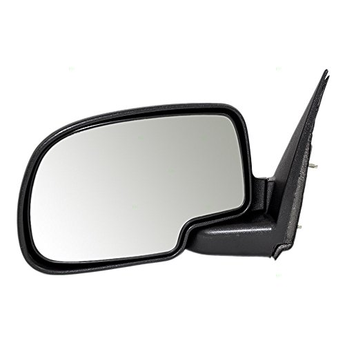 Drivers Manual Side View Mirror with Textured Cap Replacement for Chevrolet GMC Pickup Truck SUV 25876714 (New Manual Side View Mirror)