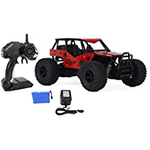 AJ Toys & Games Turbo Remote Control Toy Red Rally Buggy RC Car 2.4 GHz 1:16 Scale Size w/Working Suspension, Spring Shock Absorbers