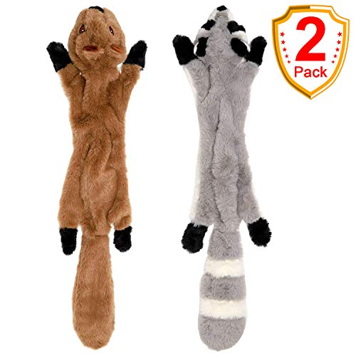 (SHARLOVY Stuffingless Dog Toys, Stuffing Free Dog Chew Toys Set with Squirrel and Raccoon Squeaky Plush Dog Toy for Medium and Large Dogs 2Pack-24Inch)