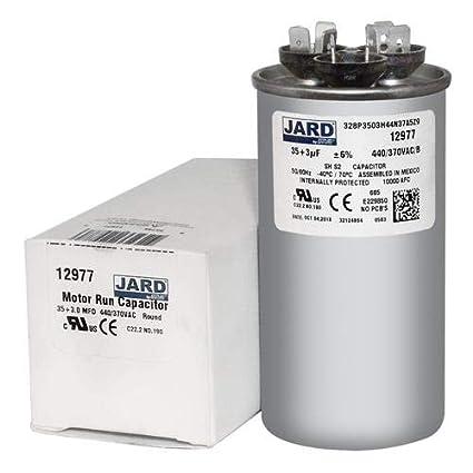 35 3 uf MFD 370 440 VAC Round Dual Capacitor 12977 Replaces C3353R C4353R