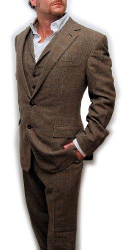 Ralph Lauren Purple Label Mens Cashmere 3-Piece Suit Vest Brown Plaid 42L
