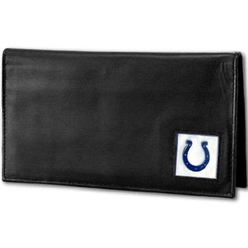 NFL Indianapolis Colts Deluxe Leather Checkbook Cover (Leather Deluxe Nfl)