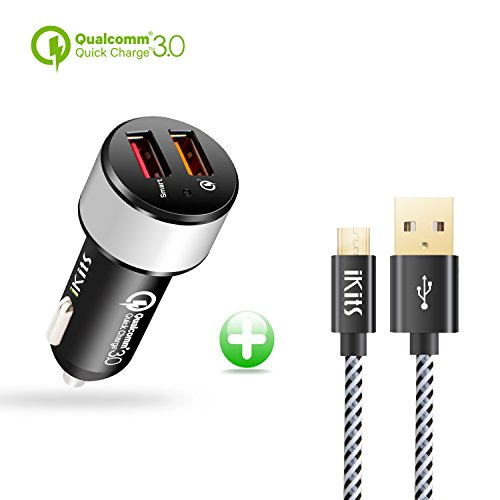 Quick Charge3.0 Car Charger,iKits 30W Rapid Dual USB Car Charge Adapter, 5V/2.4A+QC3.0 USB Port Compatible with Galaxy S9/S8/Edge/Note,HTC10,LG,Smart Port Compatible with iPhone X/8,iPad Pro/Air &More