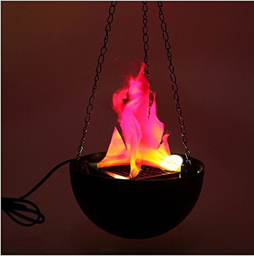 Qjoy LED Hanging Fake Flame Lamp Torch Light Fire Pot Bowl Festival Party (Bowl Torch)