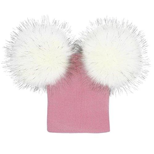 Hat Free Crochet (Tloowy Winter On Sale! Toddler Baby Boy Girls Kids Cute Dual Pom Pom Warm Knit Hats Crochet Beanie Caps (pink, Free Size))